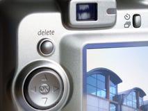 Primo piano della parte posteriore della macchina fotografica digitale Fotografia Stock
