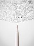 Primo piano della penna con i diagrammi imprecisi Immagine Stock Libera da Diritti