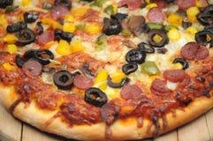 Primo piano della pizza Fotografia Stock