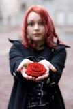 Primo piano della ragazza di redhead con la a immagine stock