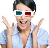 Primo piano della ragazza in occhiali 3D Immagine Stock Libera da Diritti