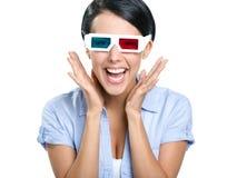 Primo piano della ragazza in vetri 3D Fotografia Stock Libera da Diritti