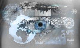 Primo piano della rappresentazione digitale dell'occhio 3D della donna Fotografia Stock Libera da Diritti