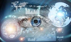 Primo piano della rappresentazione digitale dell'occhio 3D della donna Immagine Stock Libera da Diritti