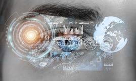 Primo piano della rappresentazione digitale dell'occhio 3D della donna Immagini Stock Libere da Diritti