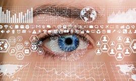 Primo piano della rappresentazione digitale dell'occhio 3D della donna Immagini Stock