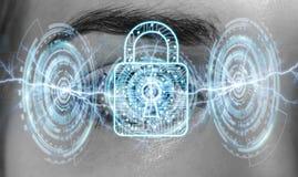 Primo piano della rappresentazione digitale di concetto 3D del lucchetto dell'occhio della donna Fotografia Stock Libera da Diritti