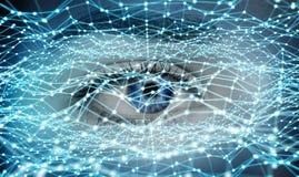 Primo piano della rappresentazione digitale di concetto 3D della rete dell'occhio della donna Immagine Stock Libera da Diritti
