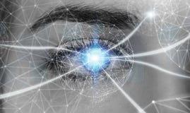 Primo piano della rappresentazione digitale di concetto 3D della rete dell'occhio della donna Fotografia Stock Libera da Diritti