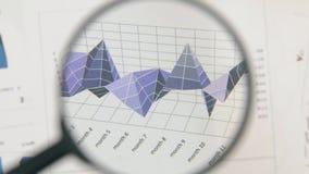 Primo piano della rotazione di una lente d'ingrandimento e di un diagramma lilla Distorsione ottica stock footage