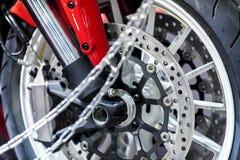 Primo piano della ruota del motociclo Fotografia Stock Libera da Diritti