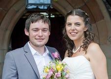 Primo piano della sposa e dello sposo Fotografie Stock
