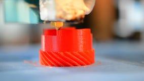 Primo piano della stampante di stampa 3D stock footage