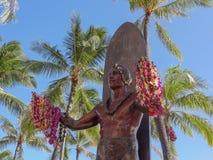 Primo piano della statua di Duke Kahanamoku Immagine Stock