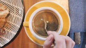 Primo piano della tazza Caffè bevente della donna graziosa e rilassarsi nello stile orientale del caffè Prima colazione, mattina  archivi video