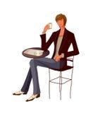 Primo piano della tazza della holding dell'uomo illustrazione vettoriale