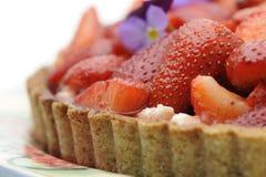 Primo piano della torta di Starwberry Fotografia Stock