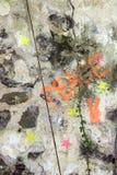Primo piano della vernice di spruzzo su calcestruzzo. Immagine Stock