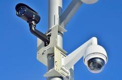 Primo piano della videocamera di sicurezza Fotografia Stock