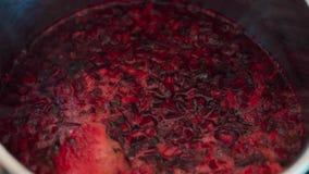 Primo piano della zuppa di barbabietola d'ebollizione di Borgogna in vaso stock footage