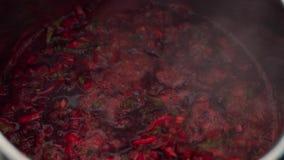 Primo piano della zuppa di barbabietola d'ebollizione di Borgogna in vaso video d archivio