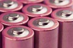 Primo piano delle batterie elettriche rosa Immagine Stock Libera da Diritti