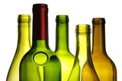 Primo piano delle bottiglie di vino Immagini Stock