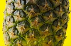 Primo piano delle bucce dell'ananas contro fondo giallo fotografie stock libere da diritti