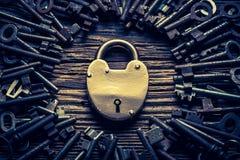 Primo piano delle chiavi d'annata e delle serrature Fotografie Stock