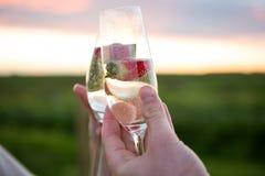 Primo piano delle coppie che tostano vetro di champagne Immagini Stock