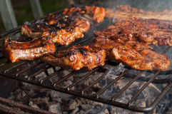 Primo piano delle costole di carne di maiale deliziose sulla griglia del barbecue Fotografia Stock