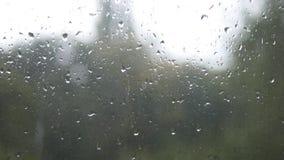 Primo piano delle goccioline di acqua su vetro Gocce di pioggia sul vetro di finestra con il fondo della sfuocatura Albero e ciel stock footage