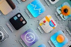 Primo piano delle icone di applicazione di iPhone Fotografie Stock Libere da Diritti