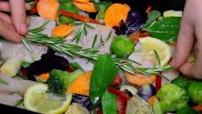 Primo piano delle mani del cuoco unico che cucinano e che preparano alimento, pesce e le verdure nella cucina del ristorante archivi video