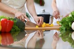 Primo piano delle mani umane che cucinano in una cucina Amici divertendosi mentre preparando insalata fresca Vegetariano, in buon immagine stock