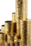 Primo piano delle monete dorate Immagine Stock