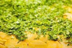 Primo piano delle patate al forno Immagini Stock