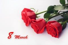 Primo piano delle rose rosse Bello mazzo 8 marzo carta Immagine Stock Libera da Diritti