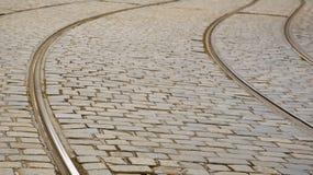 Primo piano delle rotaie del calibratore per allineamento a Praga Fotografia Stock