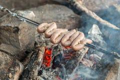 Primo piano delle salsiccie della carne Immagini Stock Libere da Diritti