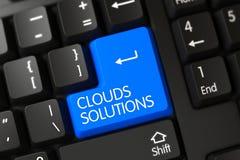 Primo piano delle soluzioni delle nuvole della tastiera blu della tastiera 3d Immagine Stock