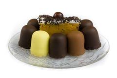 Primo piano delle torte di cioccolato Fotografie Stock Libere da Diritti