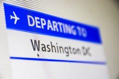Primo piano dello schermo di computer del volo a Washington, DC Immagini Stock Libere da Diritti