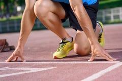 Primo piano dello sportivo che va funzionare Fotografia Stock