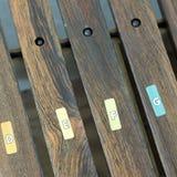 Primo piano dello strumento di legno dei magli per i bambini veduti da sopra Fotografie Stock Libere da Diritti