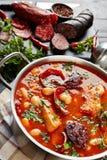 Primo piano dello stufato caloroso del fagiolo di Fabada Asturiana immagine stock libera da diritti