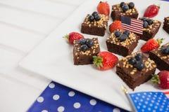 Primo piano di alimento dolce decorato con il tema del 4 luglio Immagini Stock Libere da Diritti