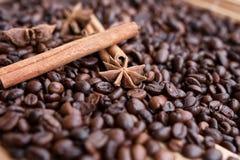 Primo piano di anice stellato, baccelli fragranti freschi della vaniglia, bastoni e chicchi di caffè di cannella, ingredienti di  fotografie stock