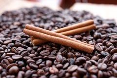 Primo piano di anice stellato, baccelli fragranti freschi della vaniglia, bastoni e chicchi di caffè di cannella, ingredienti di  immagine stock