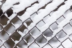Primo piano di barbwire coperto da neve Immagini Stock